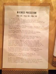 Beer List: Le Triangle Restaurant Paris
