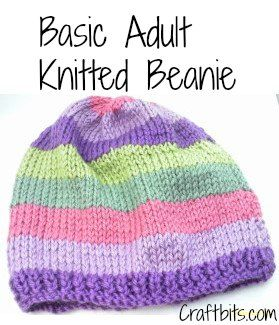 Basic Adults Knitted Beanie - Knitting Patterns - craftbits.com