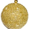 Christmas Tree Ornament: Beaded Gold Snowball