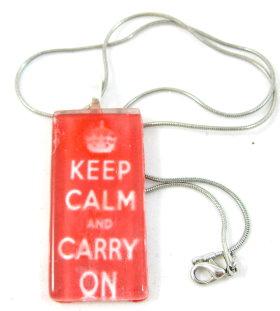 Glass Tile Pendant – Keep Calm & Carry On