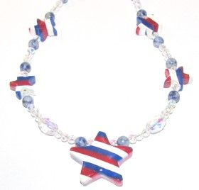 Polymer Clay – 4th Of July Stars and Stripes Necklace