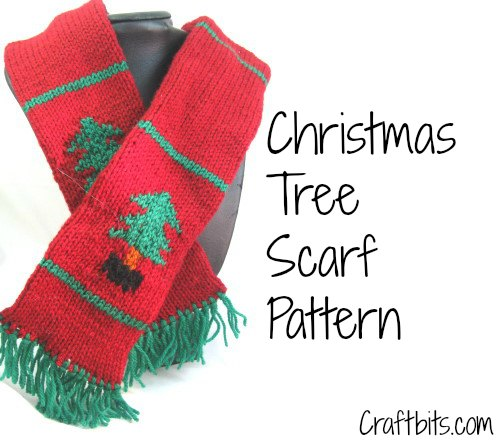Free Knit Patterns For Headbands : Childrens Scarf: Christmas Tree - Christmas Crafts - craftbits.com