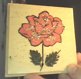 Wood Burn Rose Coaster