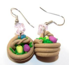 Polymer Clay – Easter Egg Basket Earrings