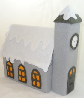 Felt Christmas Church – Tissue Box