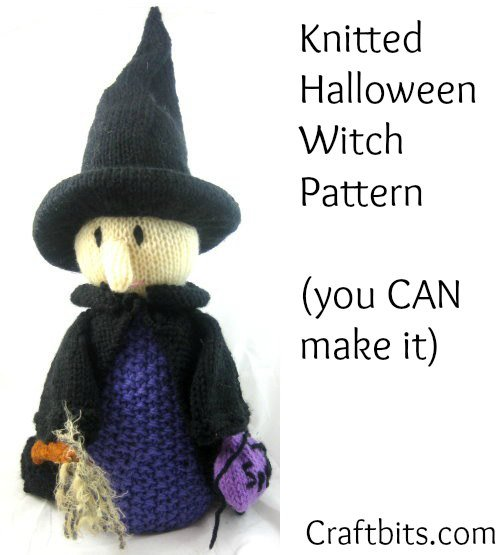 Halloween Knitting Patterns : Knitted Halloween Witch - Halloween Crafts - craftbits.com