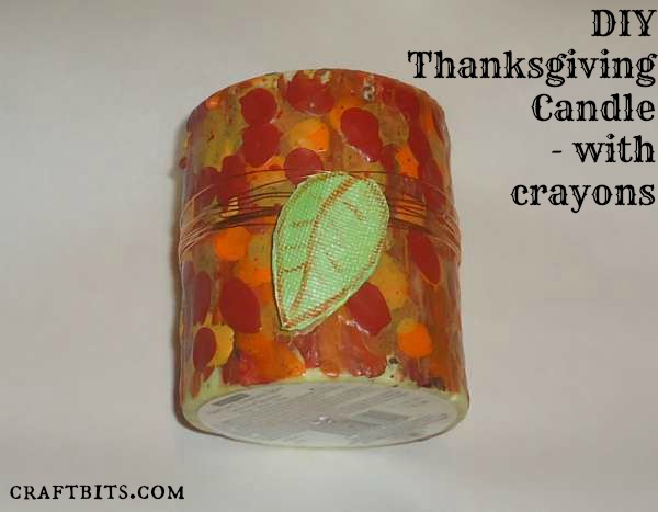 Crayon-Painted Thanksgiving Candle