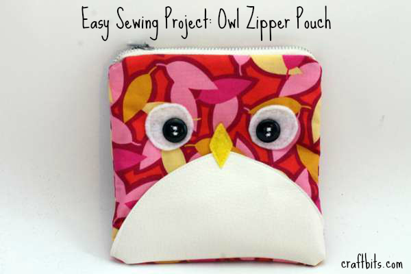 Easy Sewing Project: Owl Zipper Pouch