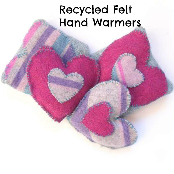 Recycled felt hand warmers