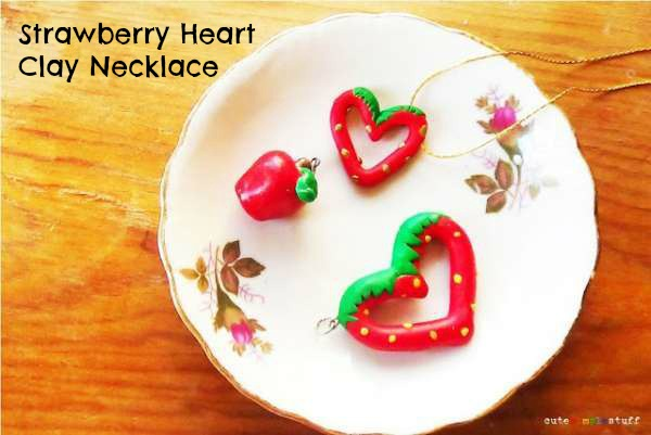 Strawberry Heart Clay Necklace