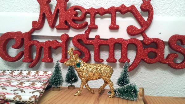 Glittered Christmas Deer Decor