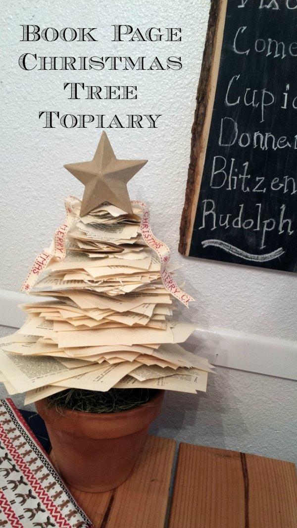 Book Page Christmas Tree Topiary
