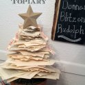 Book Page Christmas Tree Topiary