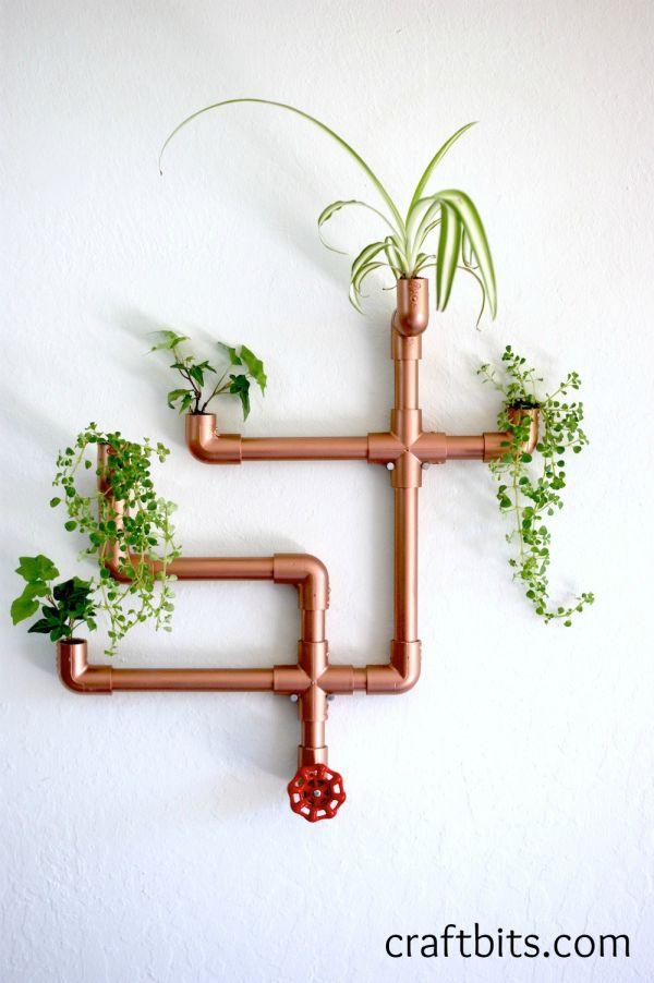 DIY Copper PVC Wall Planter