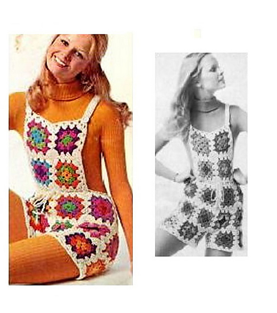 Vintage Crochet Shortalls