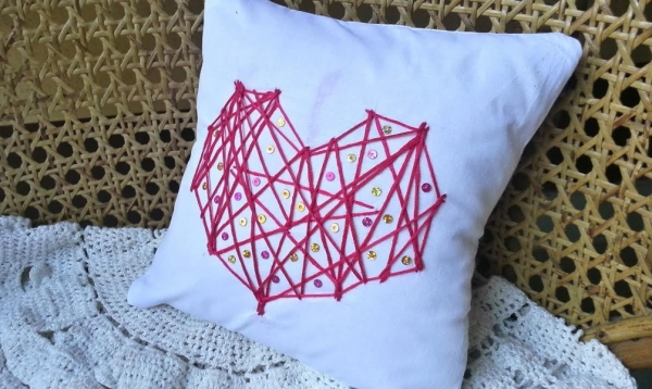 DIY String Heart Pillow Cover