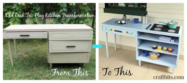 Old Desk, Play Kitchen Transformation