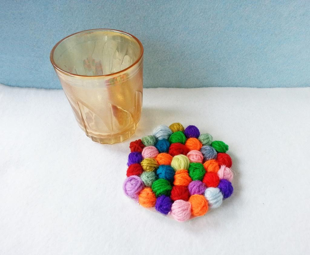Left Over Yarn to Yarn Ball Coaster