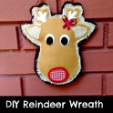 No-Sew Leftover fabric Reindeer Wreath