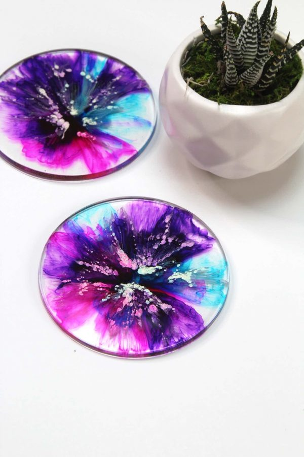 Watercolor ink coasters