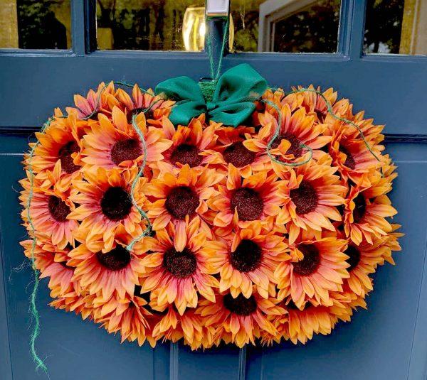 Sunflower Pumpkin Door Wreath Tutorial