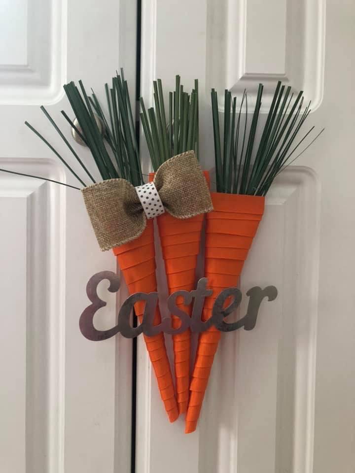 DIY Spring Carrots Easter Door Wreath
