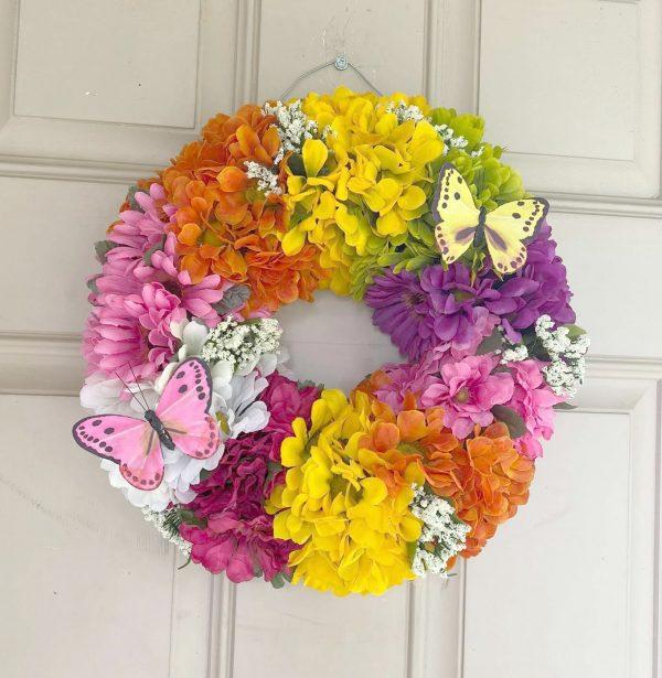 Dollar Tree Springtime Flower Wreath