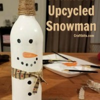 Upcycled Wine Bottle Snowman
