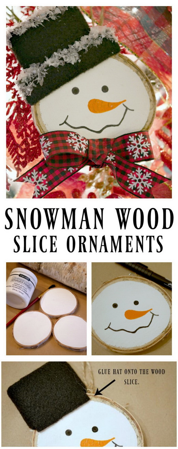 Snowman Wood Slice Ornament. This little wood slicesnowman ornament is so easy to make, it's a great craft to make with children! It makes perfect rustic ornaments to decorate your tree or gifts this holiday season.