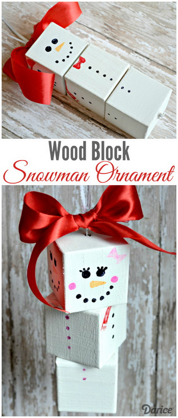 DIY Rotating Wood Block Snowman Ornament. Create a rotating wood block snowman ornament for your Christmas tree decoration or as holiday gifts for kids!