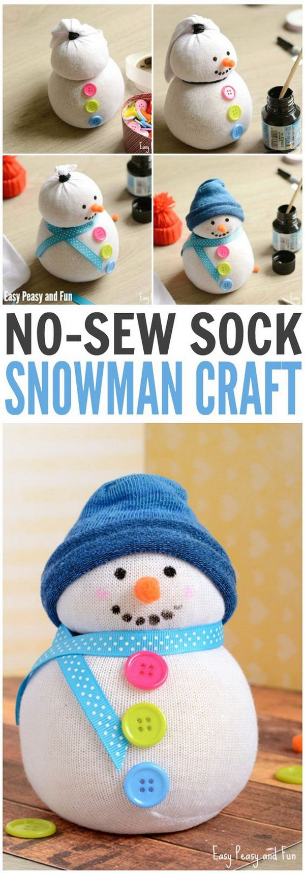 No-Sew Sock Snowman Craft. Upcycle all those odd socks in your laundry basket by making a sock snowman for winter. It makes a cute DIY gift or for a unique door stopper for the winter season.
