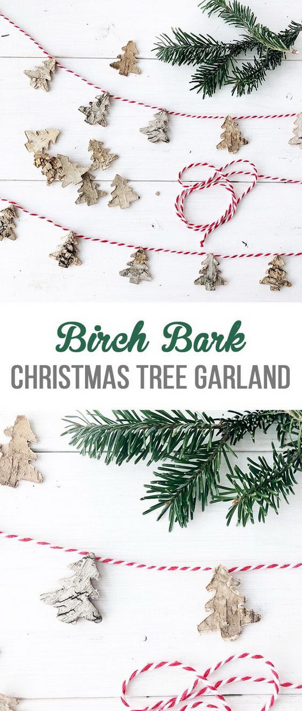 Easy Birch Bark Christmas Tree Garland. This easy birch bark Christmas tree garland is very cute and elegant for holiday decoration. You can make it in minutes with just a few simple supplies!