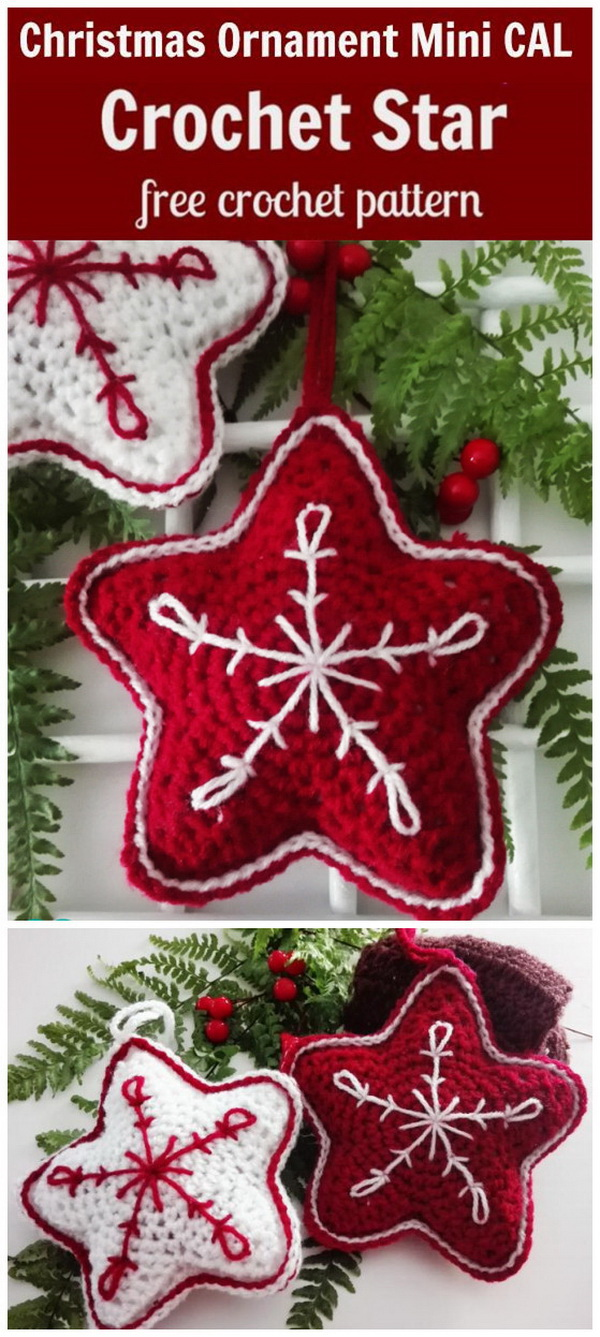 Christmas Crochet Star Ornament. Crocheting for Christmas is always so much fun for craft lovers. These festive crochet star ornaments are so easy to make even for beginners. You can spare a weekend afternoon and crochet some  in different colors as given gifts or holiday ornaments!