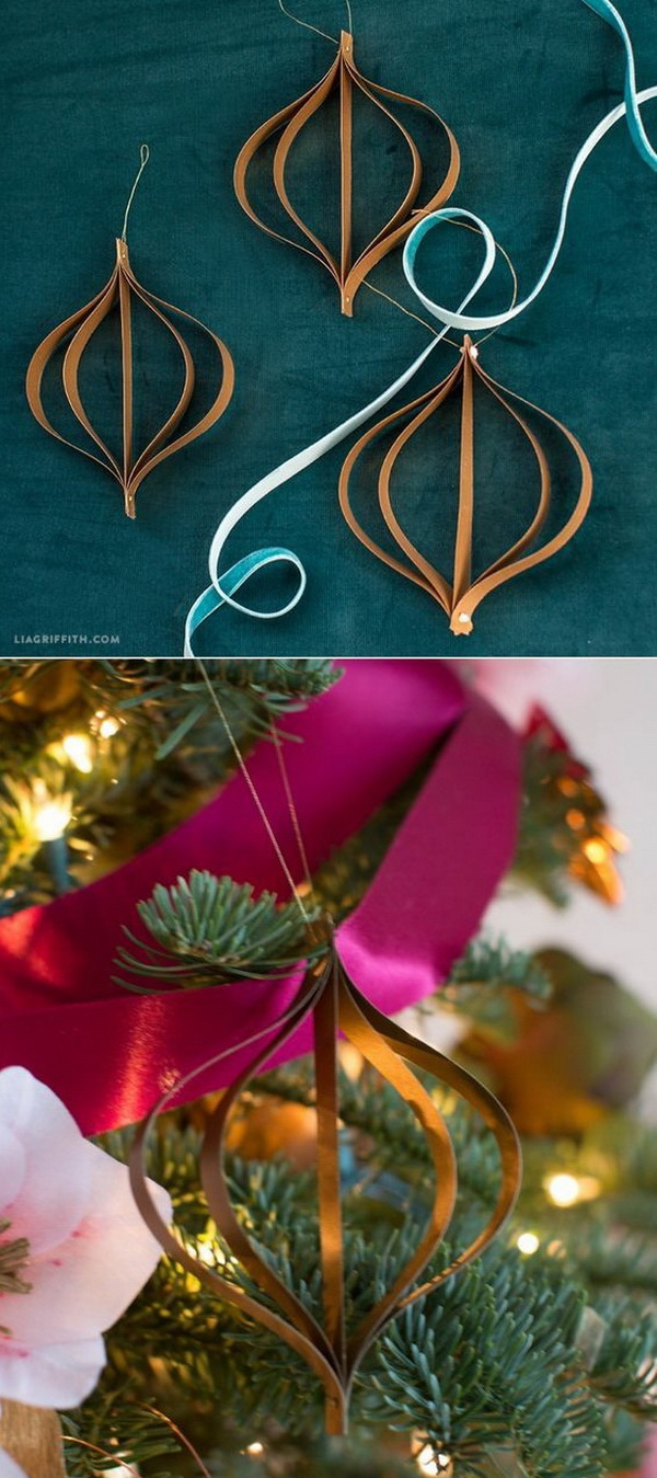 """DIY Mid-Century Paper Ornaments. These beautiful Mid-Century ornaments are made with pretty metallic """"antique gold"""" paper and will add some handcrafted elegance to your tree this Christmas season!"""