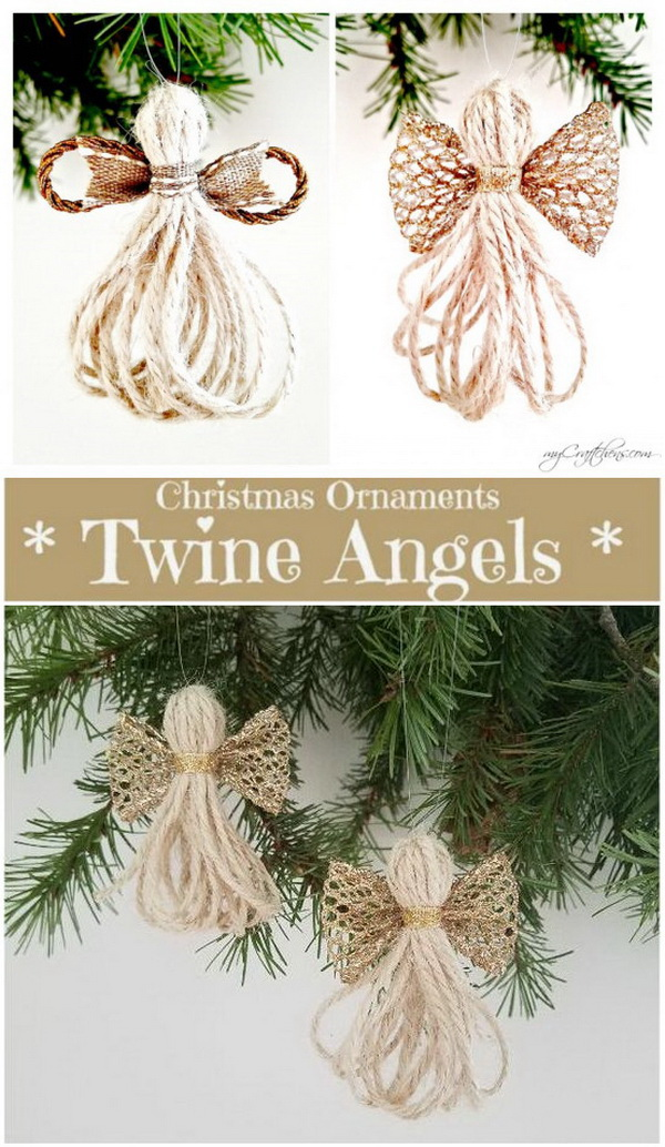 Twine Angels Christmas Ornaments. These cheap and easy DIY christmas ornament angels are made with twine and ribbon. They look so lovely and  impressive against the green background of Christmas tree! They will surely be an addition to your Christmas decorations!