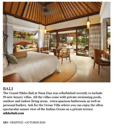 Grand Nikko Bali public relations agency client rebranding case study media coverage in Prestige Singapore magazine