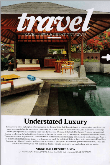Grand Nikko Bali public relations agency client rebranding case study media coverage in Wine & Dine magazine