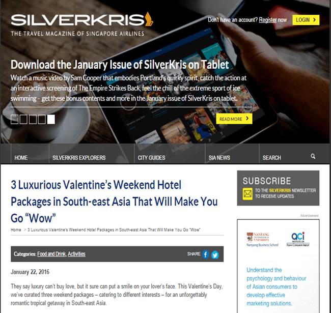 Heritage Suites Hotel luxury travel pr case study media coverage - SilverKris (Singapore Airlines' inflight title)