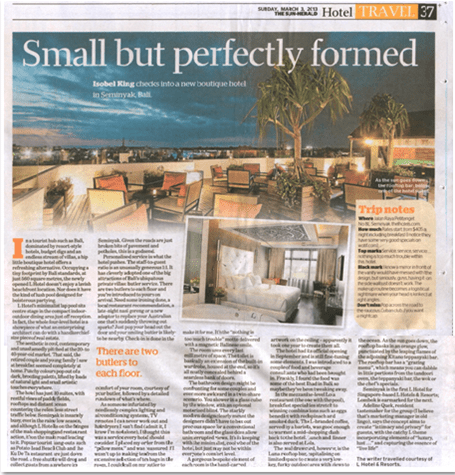 Travel public relations agency client L Hotel Seminyak featured in Sydney Morning Herald - newspaper story with photo of rooftop bar and room