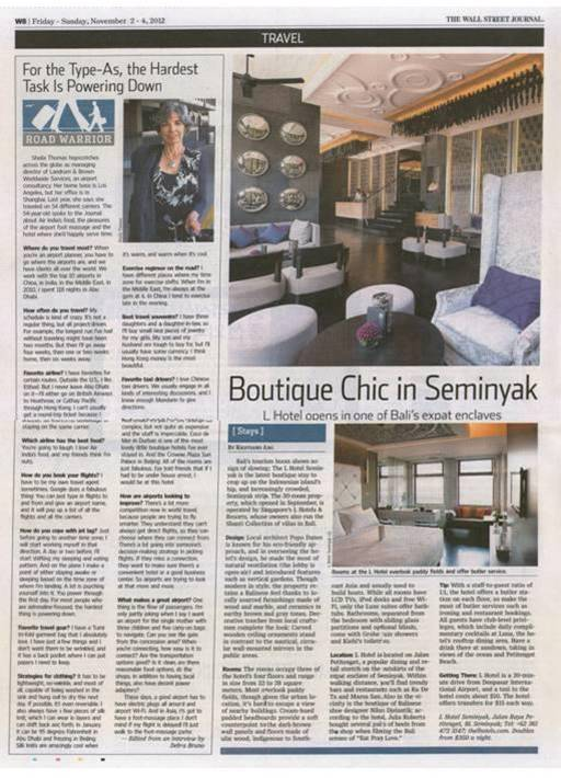 Travel public relations agency client L Hotel Seminyak featured in The Wall Street Journal