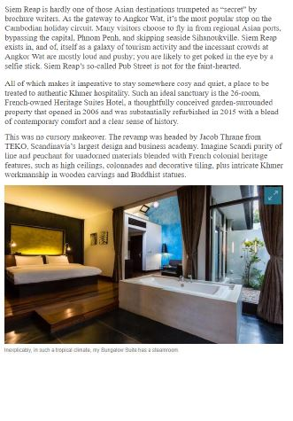 Heritage Suites Hotel luxury travel pr case study media coverage - The Australian, Australia