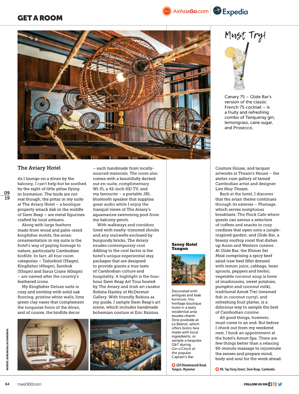 Travel public relations client The Aviary Hotel (Siem Reap) featured in Air Asia's inflight title Travel 360; stairwell, room and rooftop bar