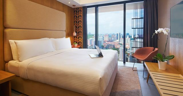 Staycation in Singapore during Phase 2 at the Oasia Hotel Downtown. Deluxe Room with CBD view.