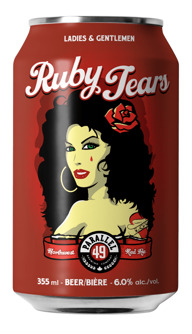 Steve Kitchen Ruby Tears craft can design for Parallel 49 Brewing, Vancouver