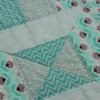 Diagonal Slice Diamond Block Baby Quilt in Grey and Mint