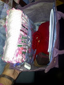 Two large pockets, 1 for my crocheted Hook case containing scissors, etc