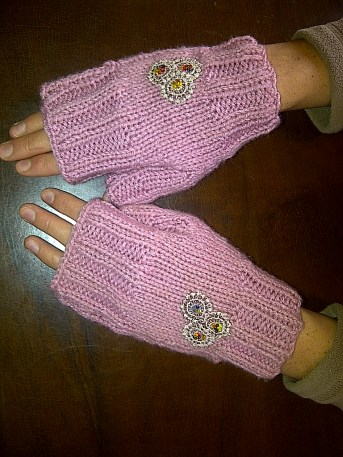 Flower Fingerless Gloves (2)