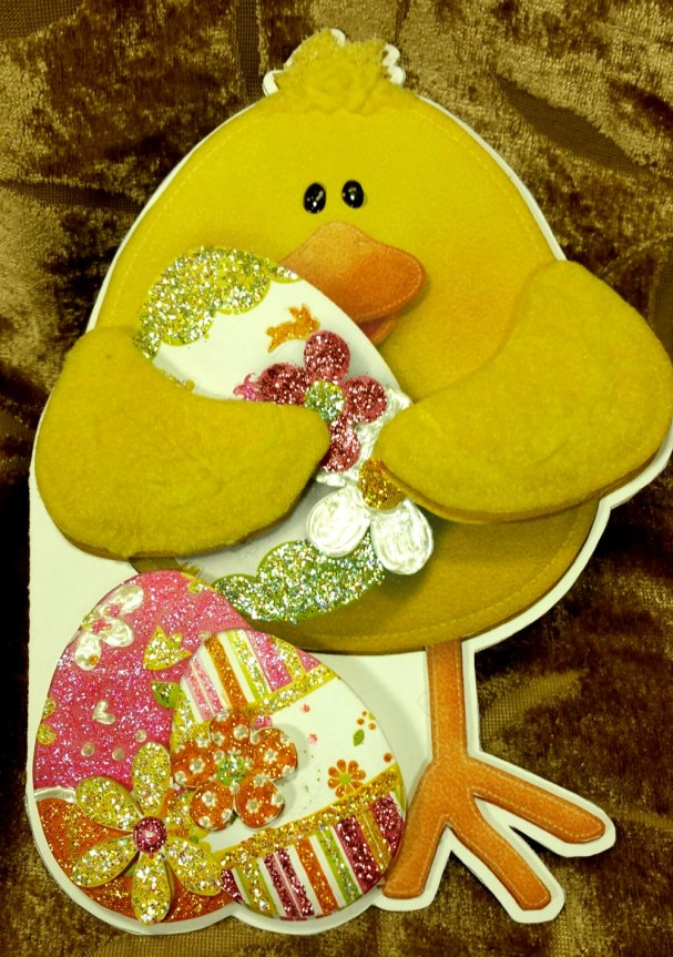 Easter Chick Shaped Card Glitz