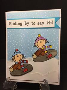 Boy sledding card