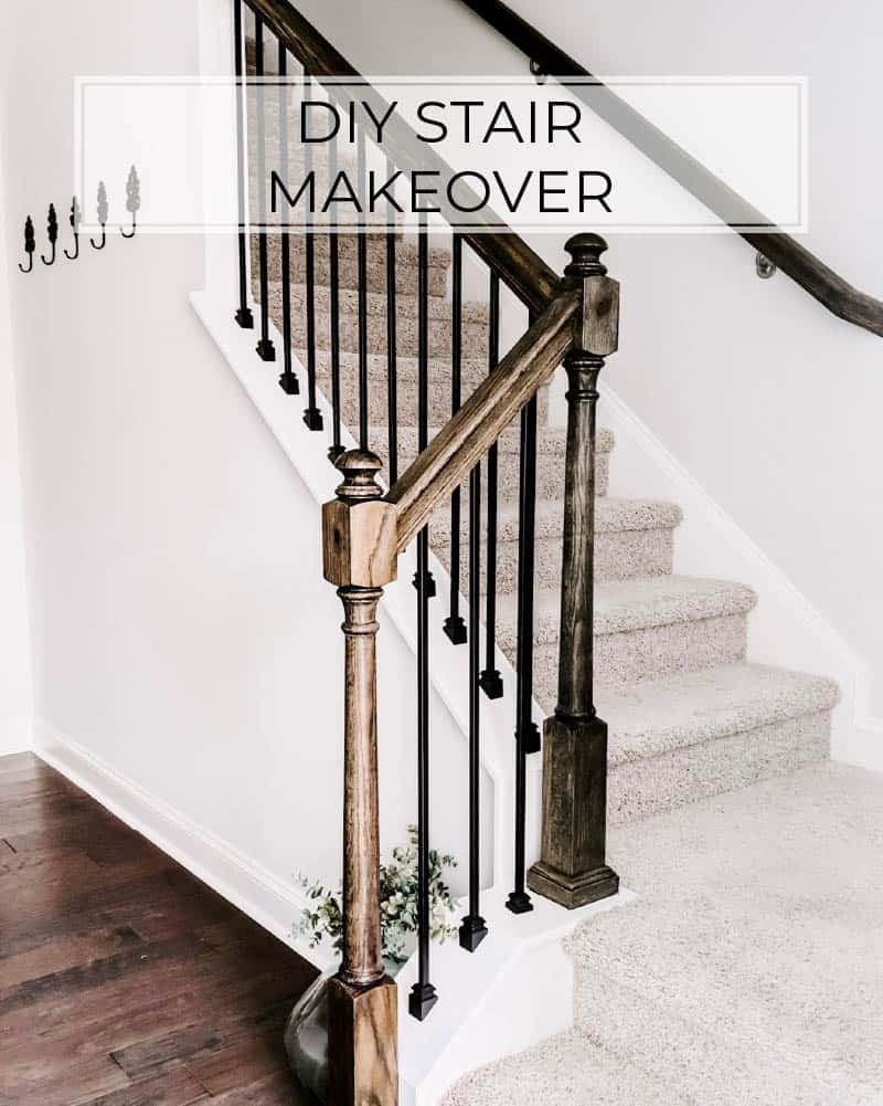 Cheap And Easy Diy Stairs Makeover Crafted By The Hunts | Replacing Stair Railing And Spindles | Paint | Newel Post | Iron Spindles | Wood Balusters | Stair Treads